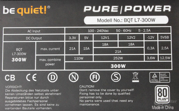 be quiet! Pure Power L7 300 Watt – Datenblatt