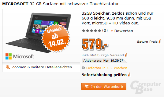 Werbung für das Microsoft Surface