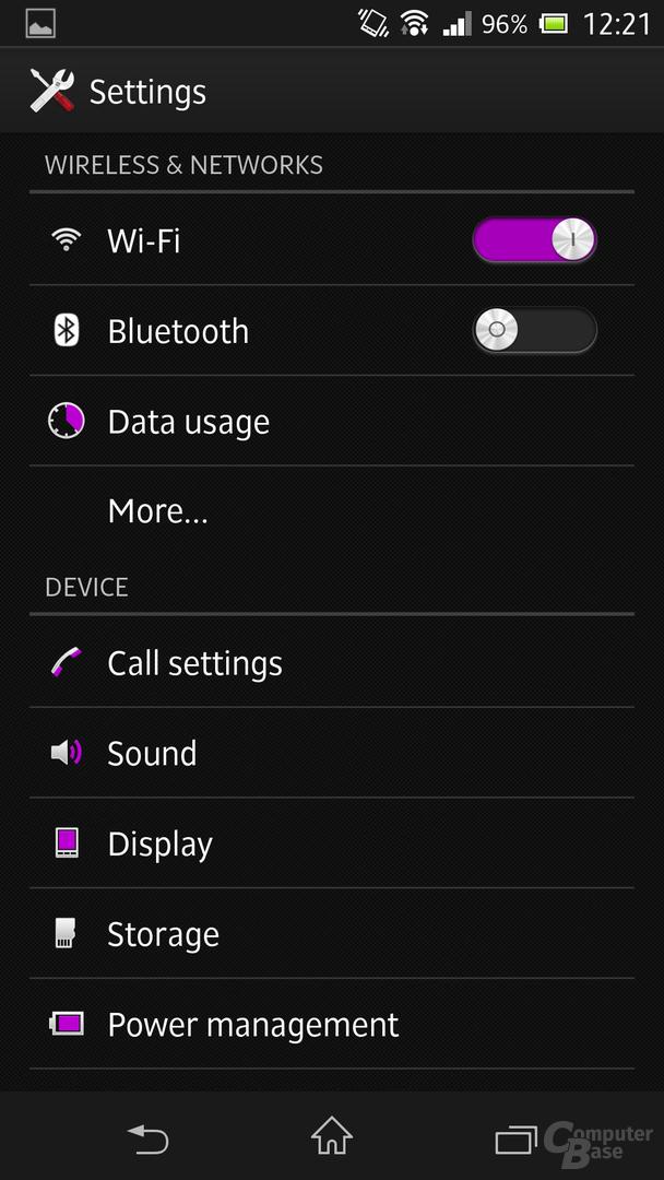 Sony Xperia Z - Einstellungen