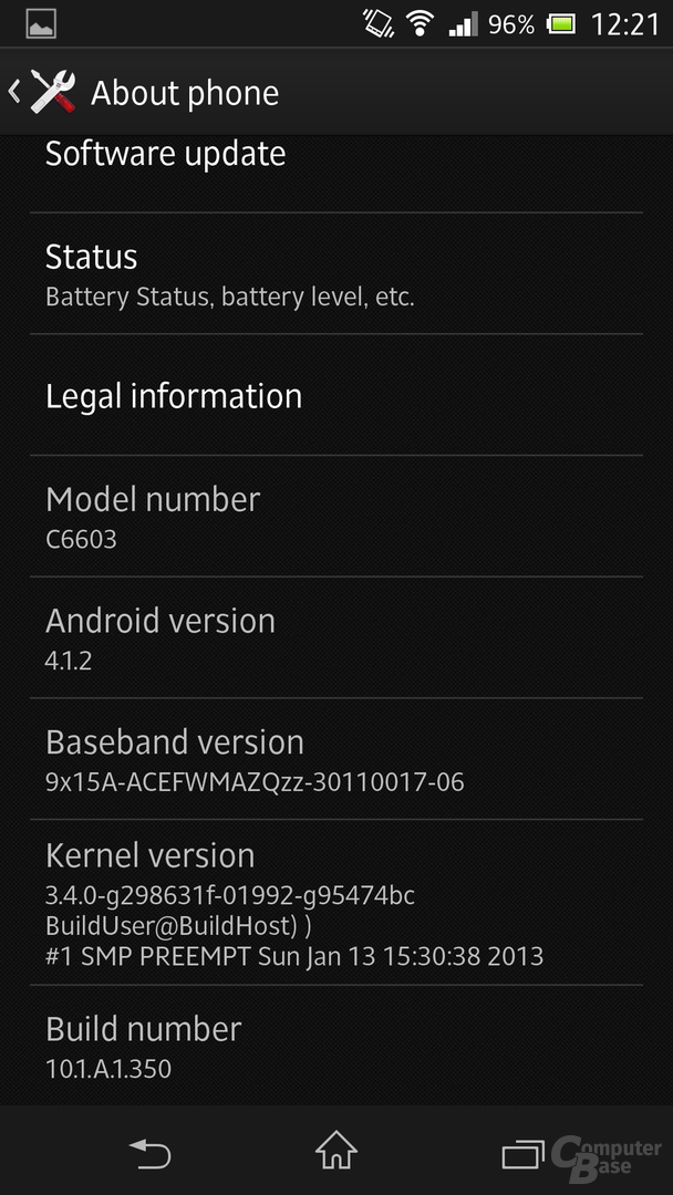 Sony Xperia Z - Android-Version