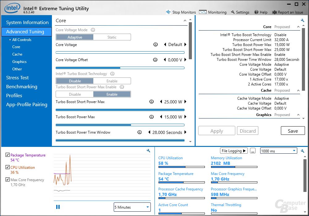 Intel Extreme Tuning Utility – Advanced Tuning