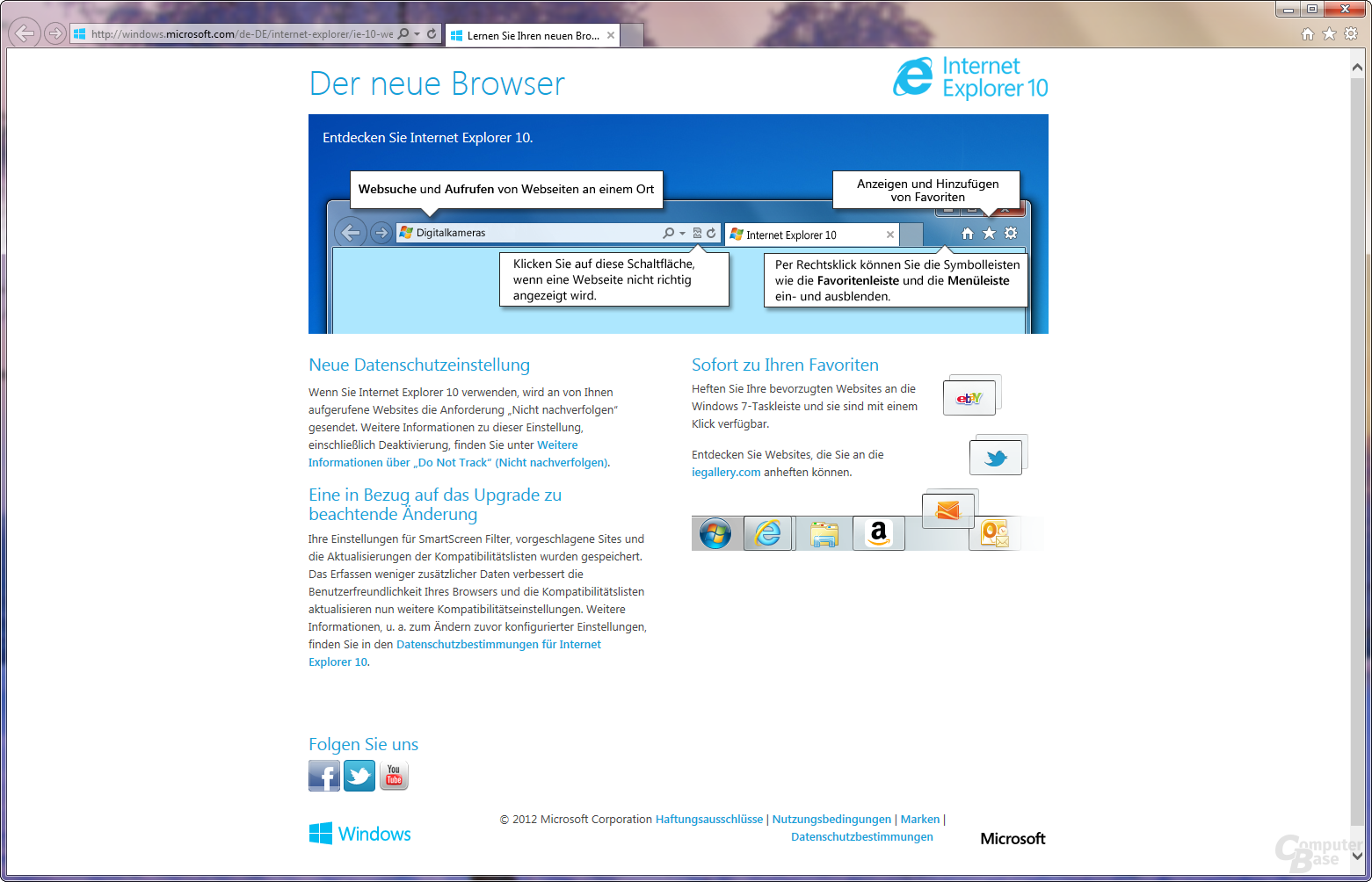 Internet Explorer 10 unter Windows 7