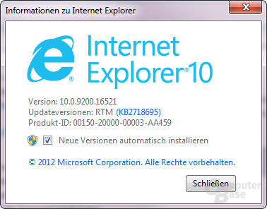 Internet Explorer 10 unter Windows 7