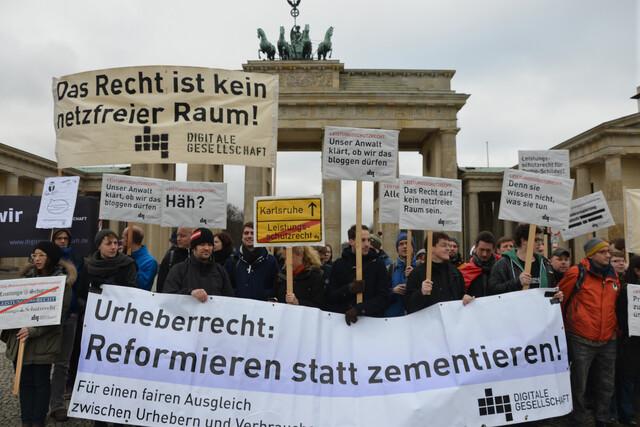 Demonstration gegen Leistungsschutzrecht