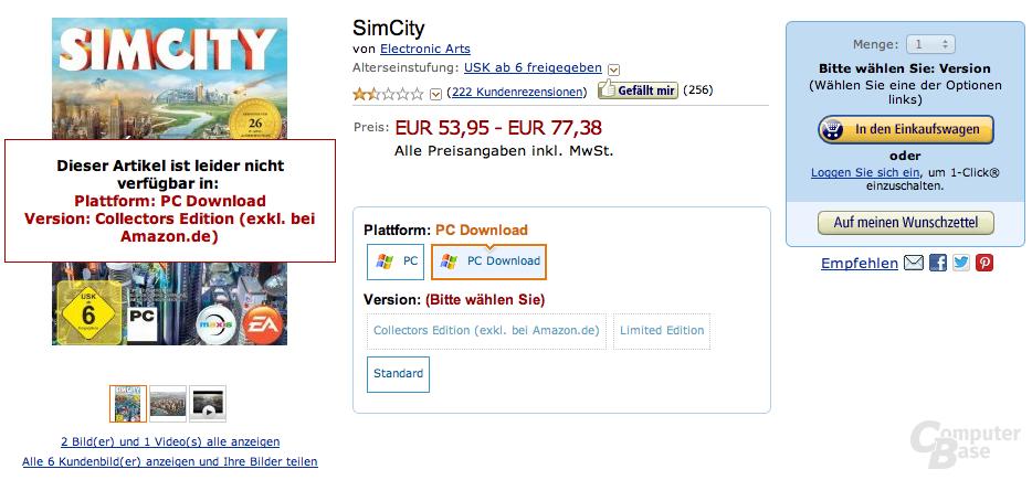 Amazon stoppt Auslieferung von SimCity als Download