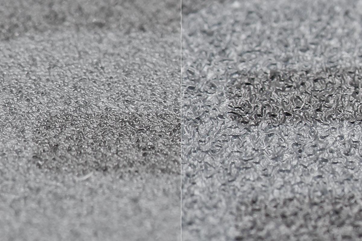 Links: Feine Oberfläche, rechts: Raue Oberfläche