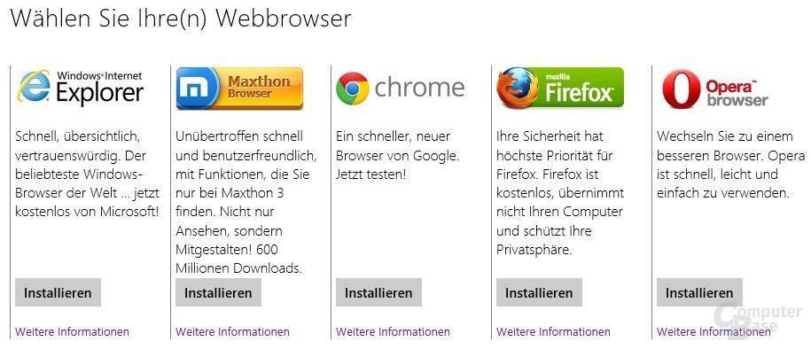 Browserwahl unter Windows 8