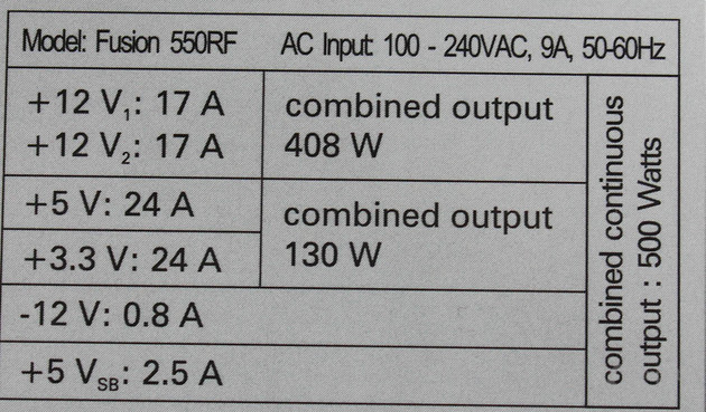 Datenblatt Arctic Fusion 550RF