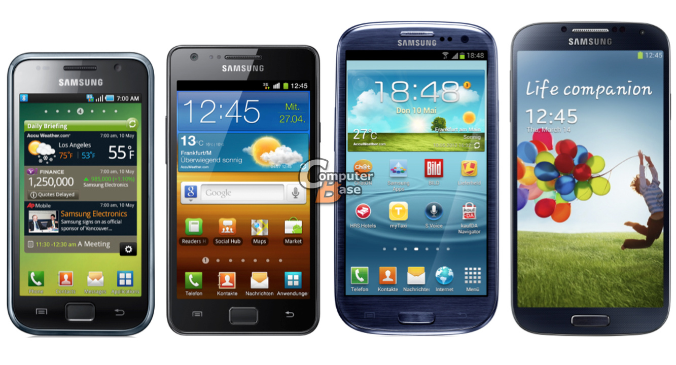 Von links: Galaxy S I / II / III / 4