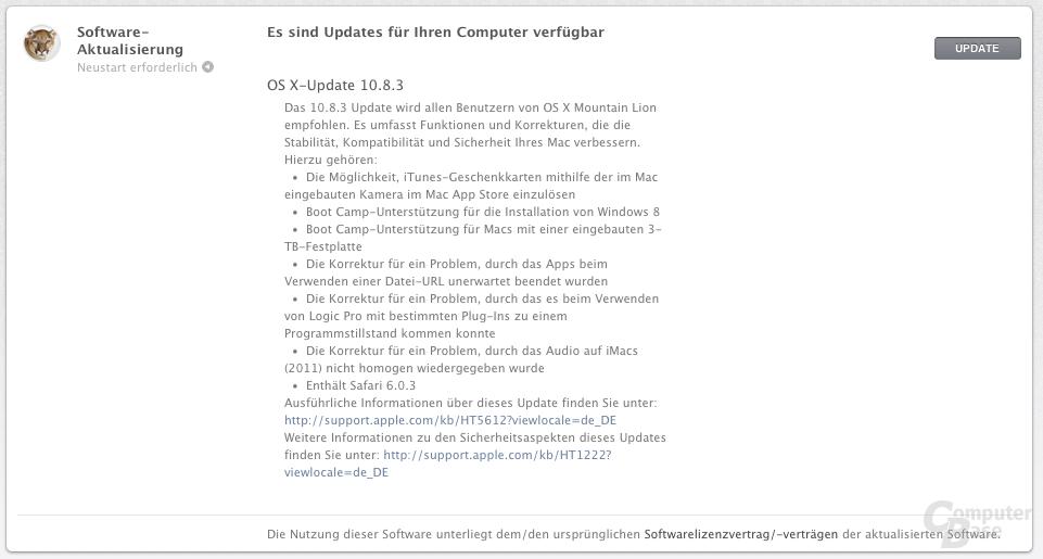 Update auf Apple OS X 10.8.3