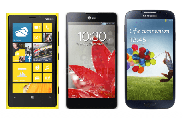 Nokia Lumia 920 vs. LG Optimus G vs. Samsung Galaxy S4