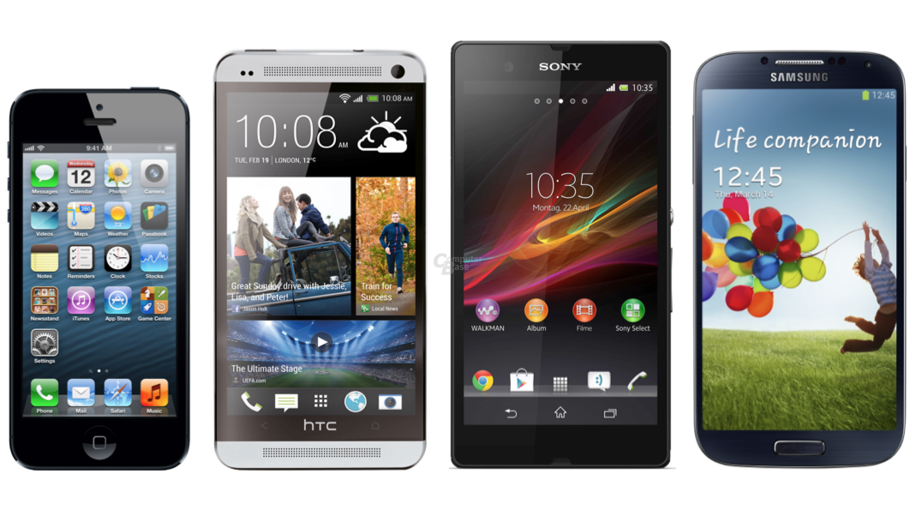 Apple iPhone 5 vs  HTC One vs  Sony Xperia Z vs  Samsung Galaxy S4Xperia Z Vs Iphone 5 Vs Galaxy S4