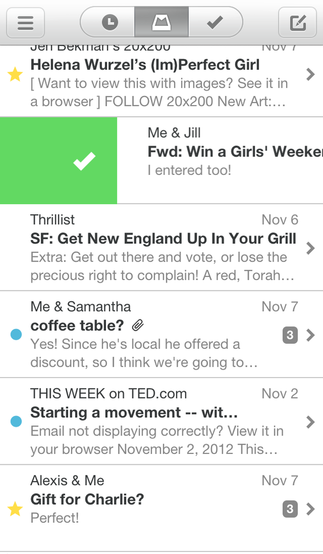 Auszug aus der Mailbox-App