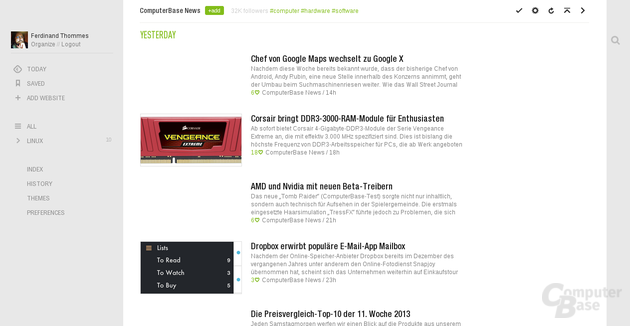 ComputerBase in Feedly