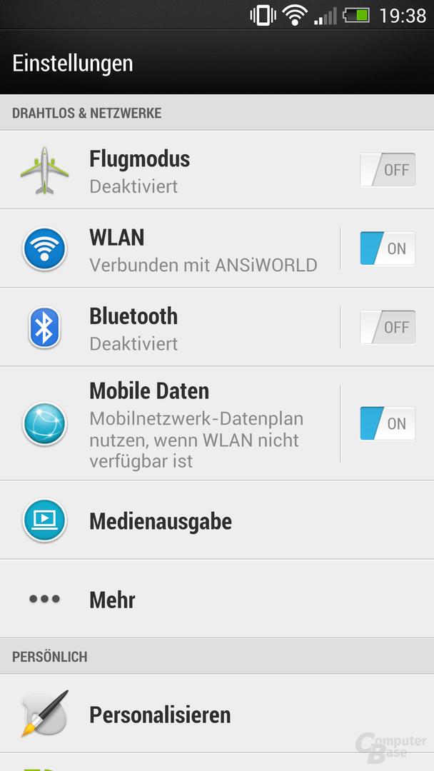 HTC One Einstellungen