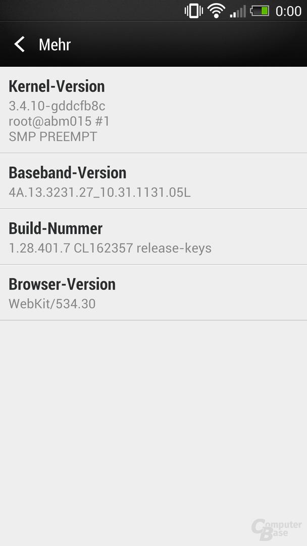 HTC One Software-Informationen