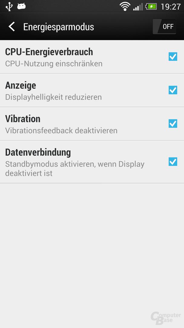 HTC One Energiesparmodus