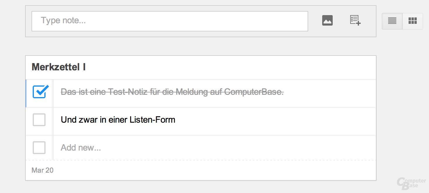 "Testnotiz in Googles Dienst ""Keep"""