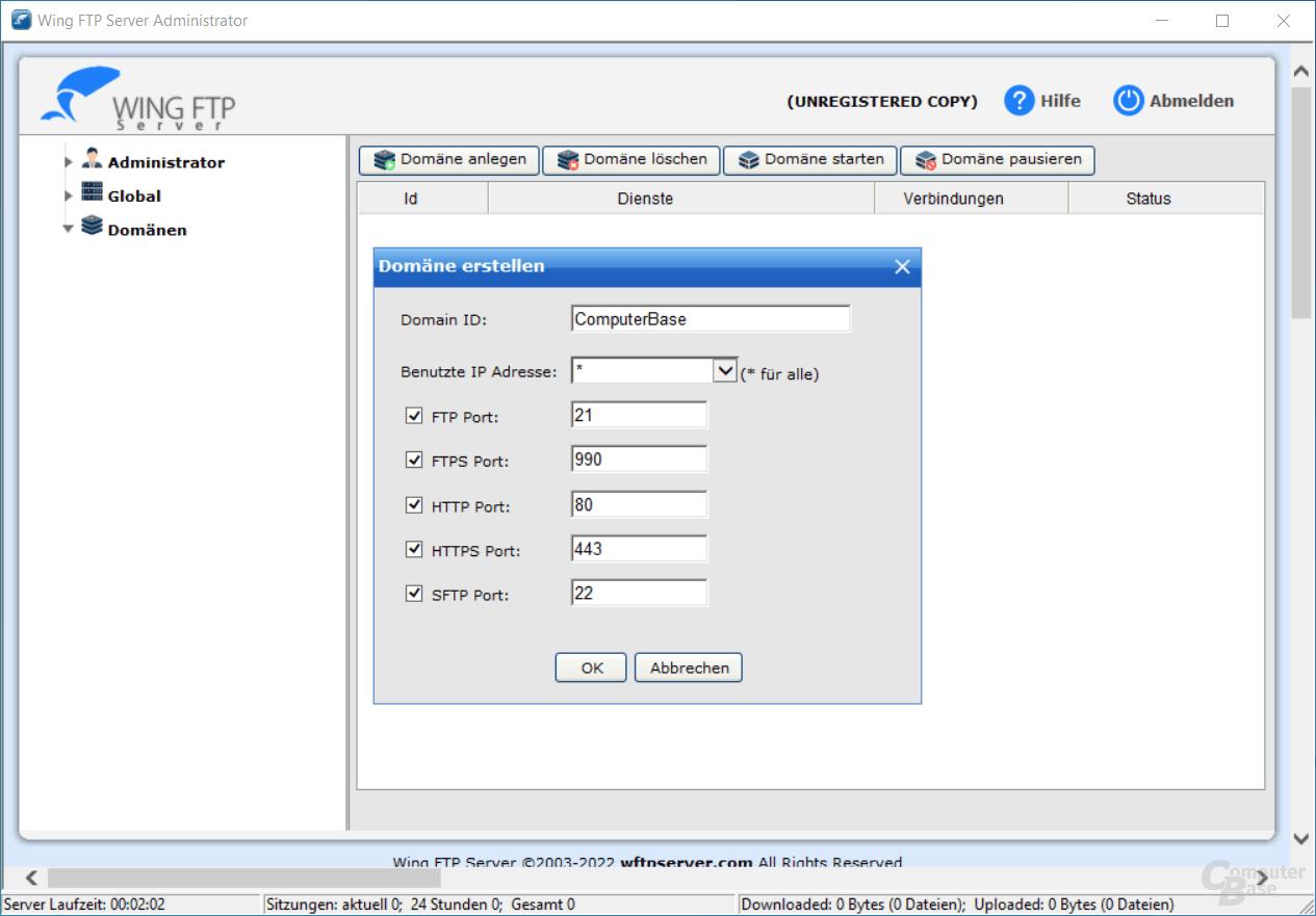 Wing FTP Server – Domäne erstellen