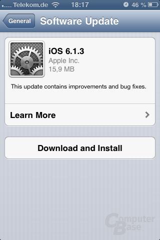 Update auf iOS 6.1.3 (iPhone 3GS)