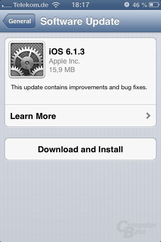 Update auf iOS 6.1.3 (iPhone 3GS)