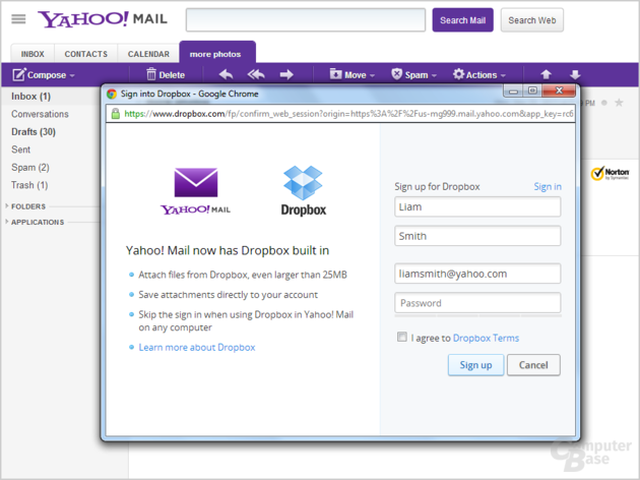 Yahoo! Mail mit Dropbox