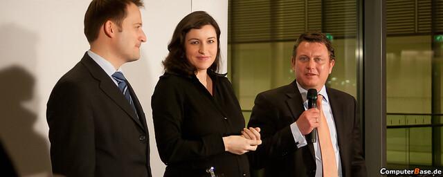 Die drei Veranstalter der Politiker-LAN: Manuel Höferlin, Dorothee Bär, Jimmy Schulz (v.l.n.r., 2011)