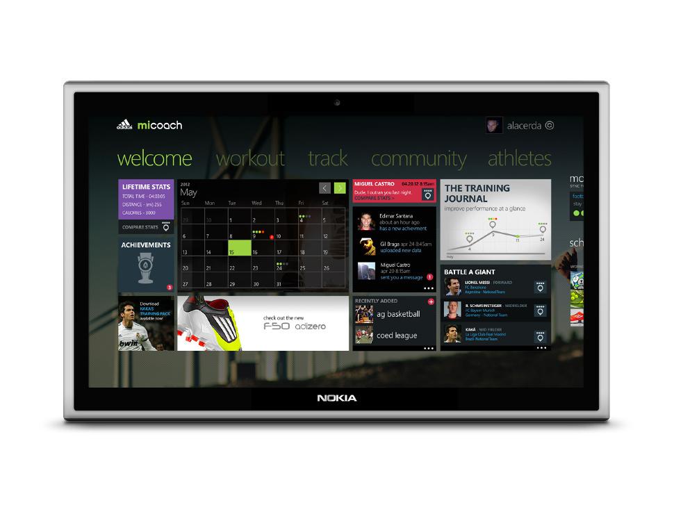 Adidas-App auf Nokia-Tablet