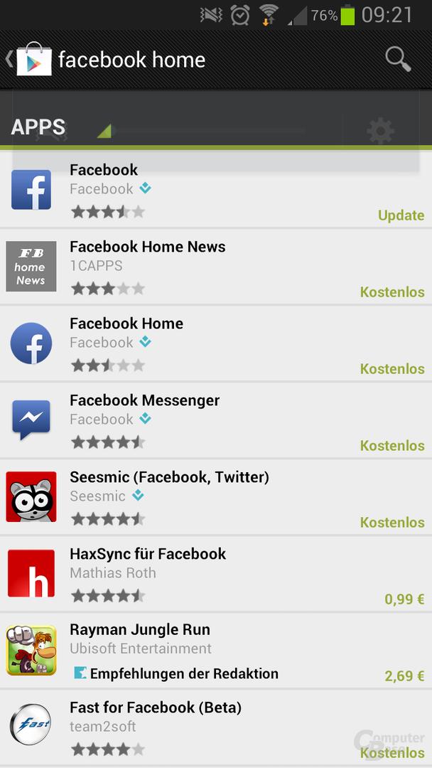 Facebook Home auch in Deutschland verfügbar