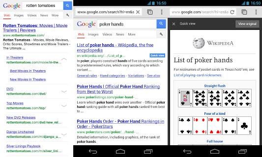 Google Quick Link und Quick View