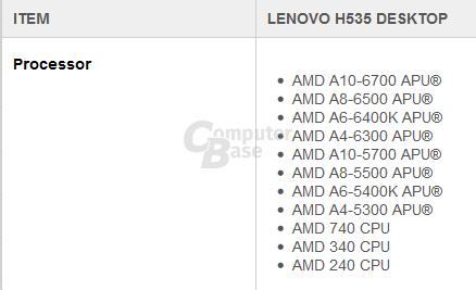 "Lenovo Desktop-PC H535 mit ""Richland"""