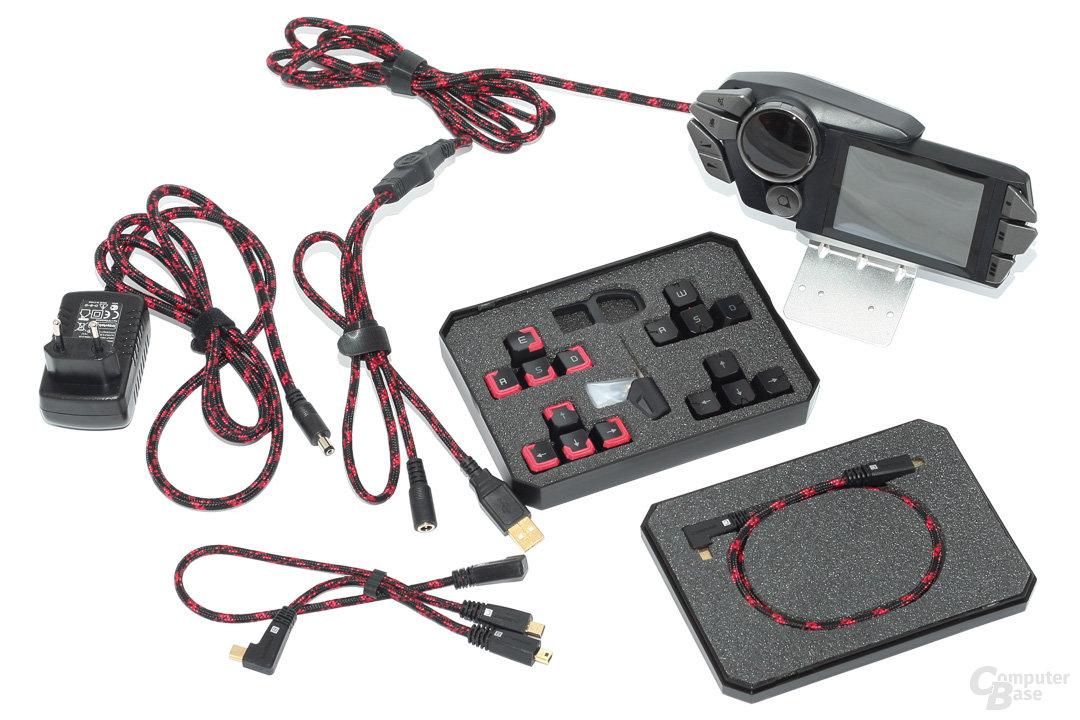 Lieferumfang: Netzteil, USB-Kabel, Tastenzieher und Werkzeug