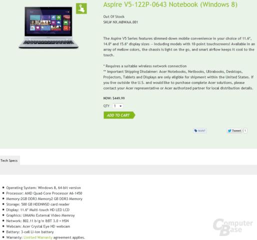 AMD A6-1450 (Temash) im Acer Aspire V5-122P-0643