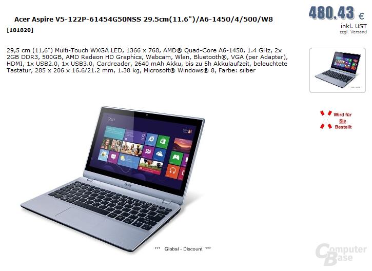 AMD A6-1450 (Temash) im Acer Aspire V5-122P-61454G50NSS