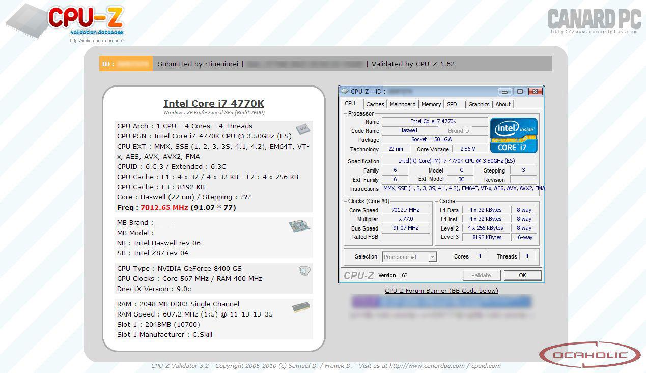 Intel Core i7-4770K übertaktet