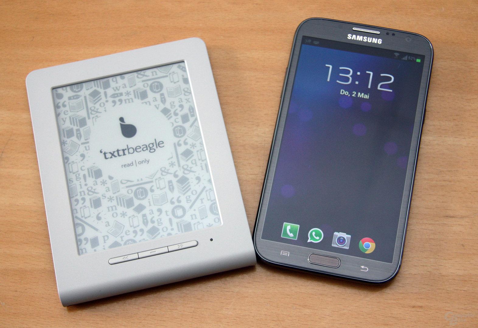 'txtr Beagle im Vergleich zum Samsung Galaxy Note II