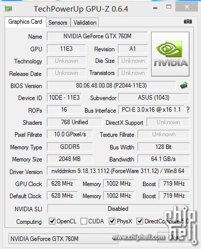 GPU-Z: Nvidia GeForce GTX 760M