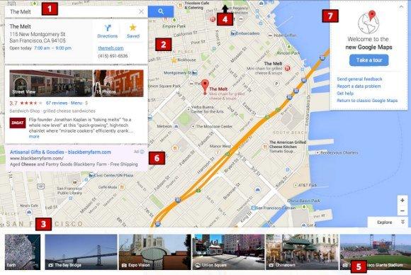 Neue Oberfläche von Google Maps