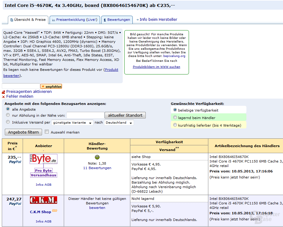 Erste Händlerlistungen des Intel Core i5-4670K