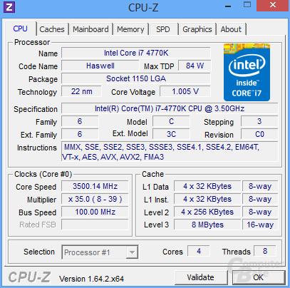 Intel Core i7-4770K im Basistakt