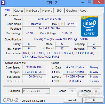 Intel Core i7-4770K im Turbo für drei Kerne