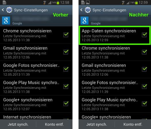 Synchronisation von App-Daten in Android