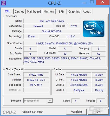 Per Multiplikator übertakteter Core i7-4930MX mit 4,2 GHz bei Belastung eines Kerns