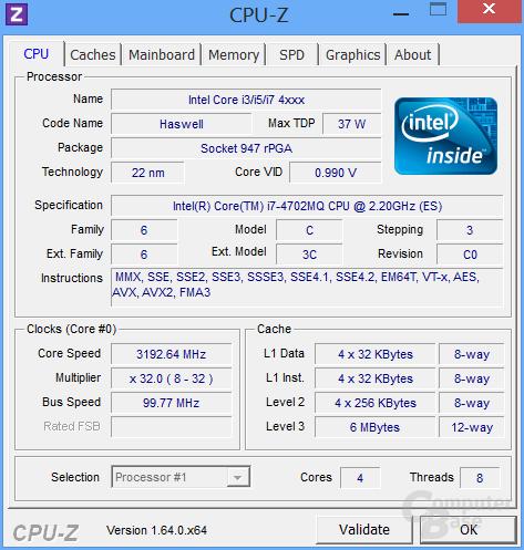 CPU-Z Core i7-4702MQ