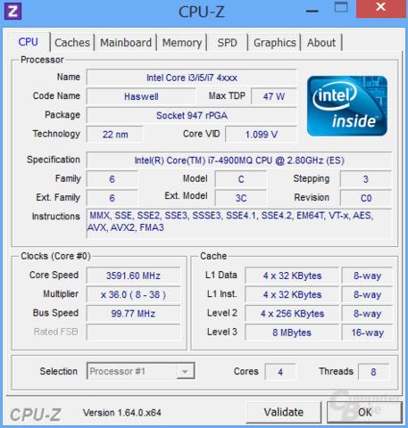 CPU-Z Core i7-4900MQ