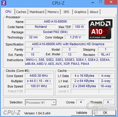 AMD A10-6800K mit Turbo undervoltet
