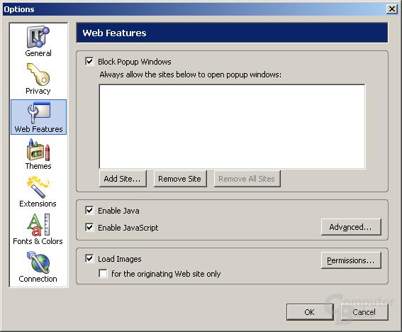 Einstellungen - Web Features