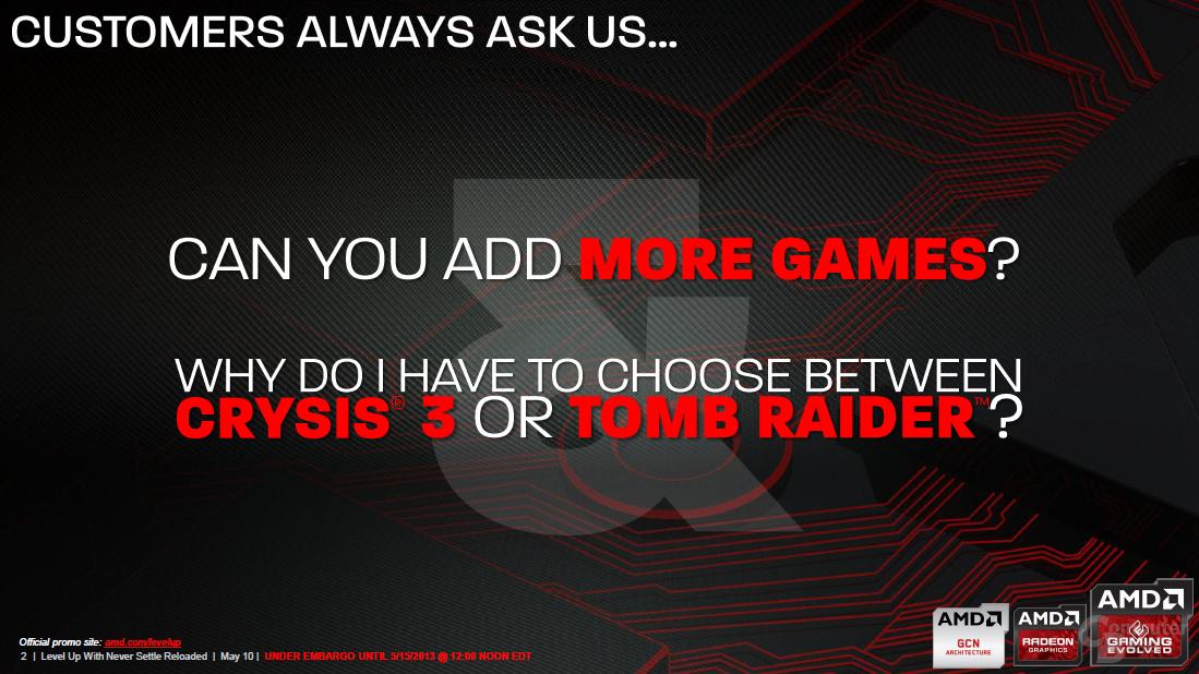"AMD Never Settle Reloaded ""Level Up"""