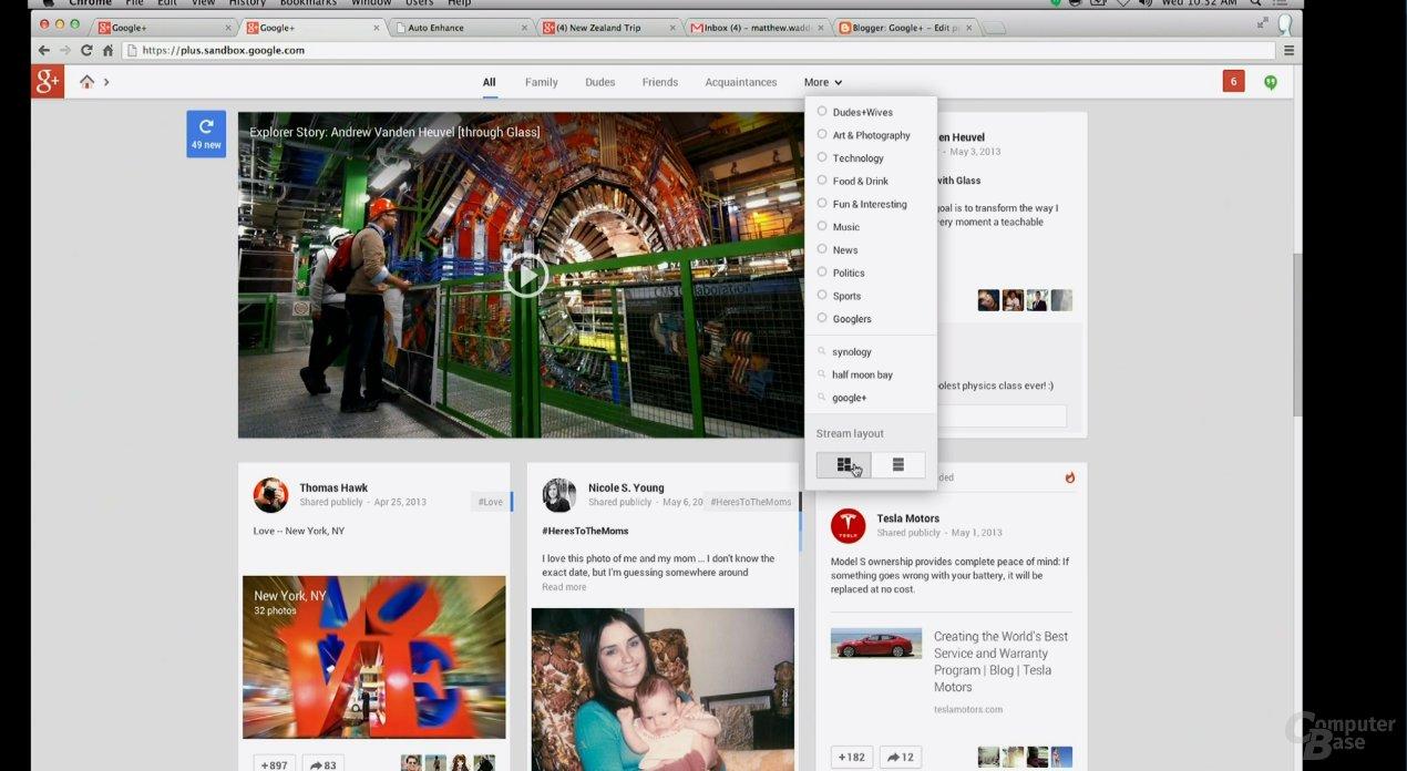 Neu gestaltetes Google+