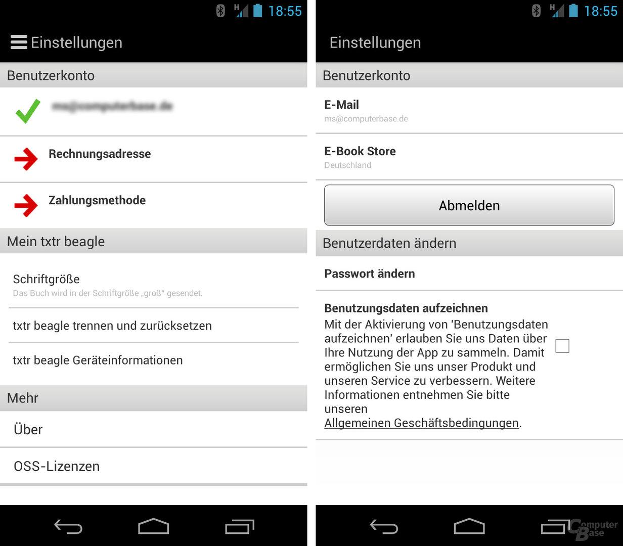 Einstellungen der Beagle-Software unter Android